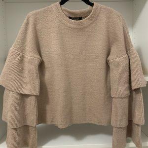 Beige bell sleeved knit top!